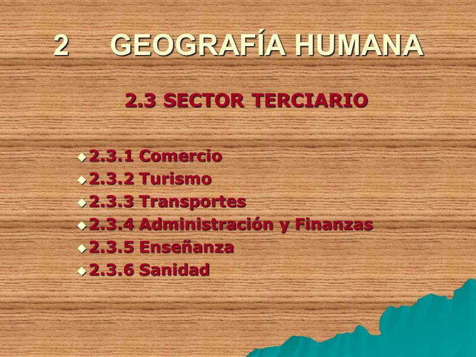 2 GEOGRAFÍA HUMANA 2.3 SECTOR TERCIARIO 2.3.1 Comercio 2.3.1 Comercio 2.3.2 Turismo 2.3.2 Turismo 2.3.3 Transportes 2.3.3 Transportes 2.3.4 Administra