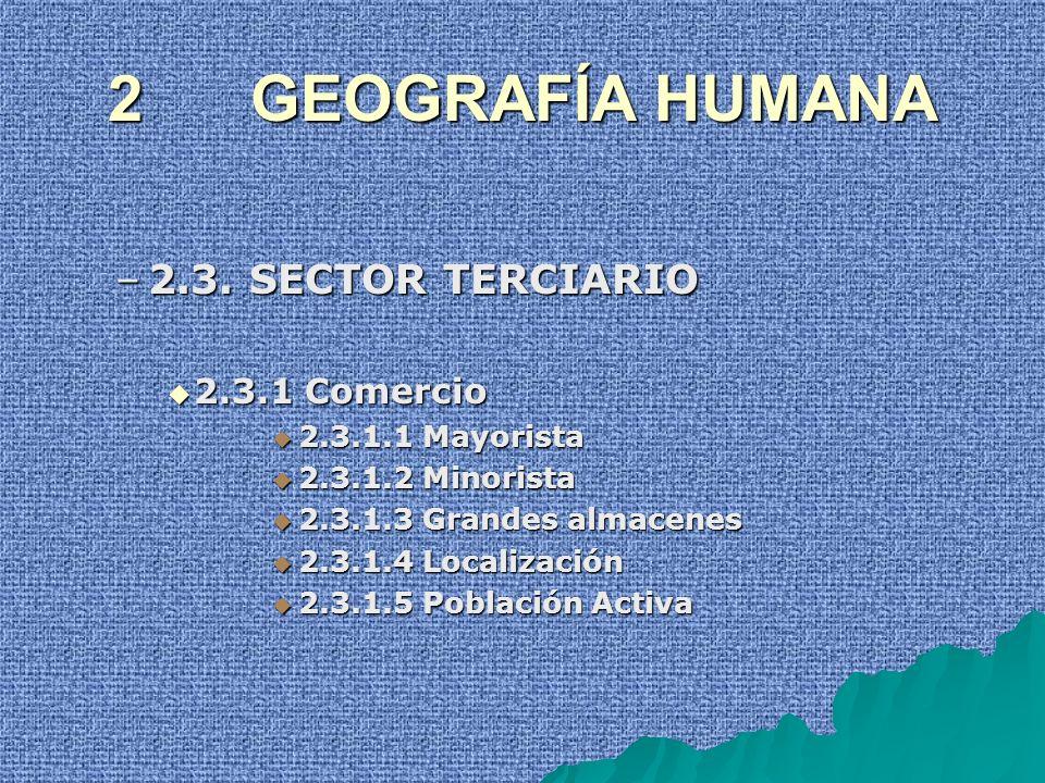 2 GEOGRAFÍA HUMANA –2.3. SECTOR TERCIARIO 2.3.1 Comercio 2.3.1 Comercio 2.3.1.1 Mayorista 2.3.1.1 Mayorista 2.3.1.2 Minorista 2.3.1.2 Minorista 2.3.1.