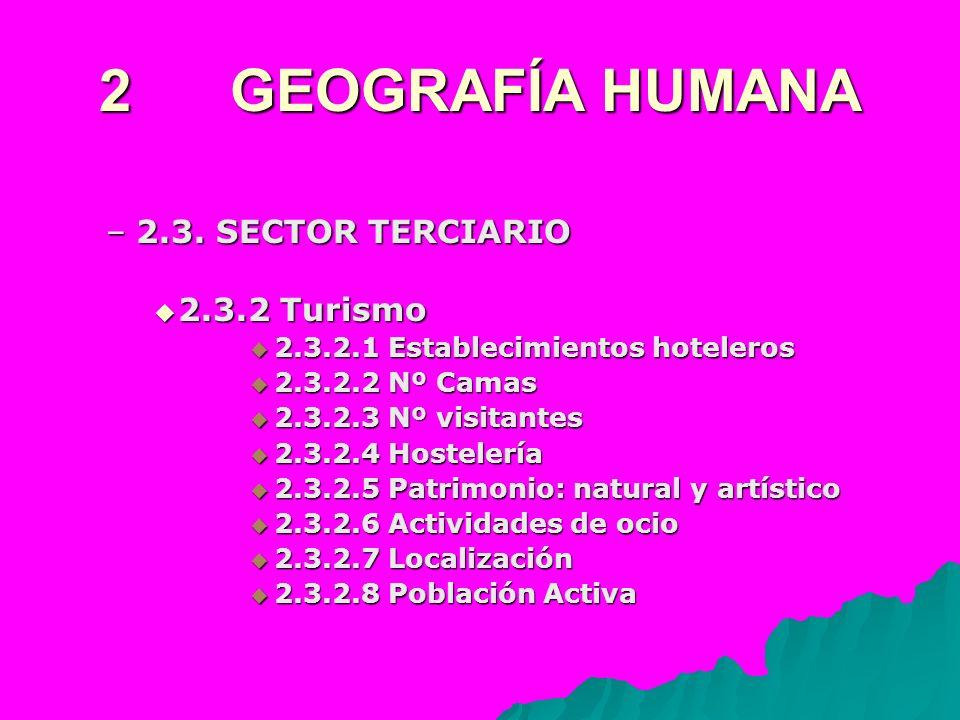 2 GEOGRAFÍA HUMANA –2.3. SECTOR TERCIARIO 2.3.2 Turismo 2.3.2 Turismo 2.3.2.1 Establecimientos hoteleros 2.3.2.1 Establecimientos hoteleros 2.3.2.2 Nº