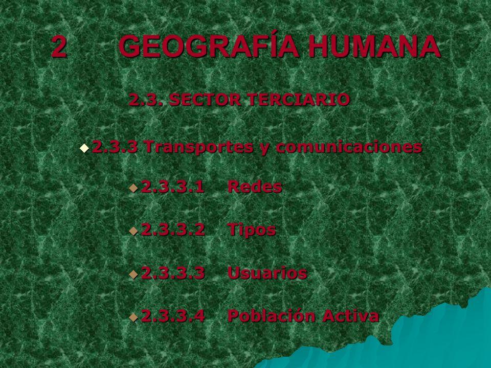 2 GEOGRAFÍA HUMANA 2.3. SECTOR TERCIARIO 2.3.3 Transportes y comunicaciones 2.3.3 Transportes y comunicaciones 2.3.3.1 Redes 2.3.3.1 Redes 2.3.3.2 Tip