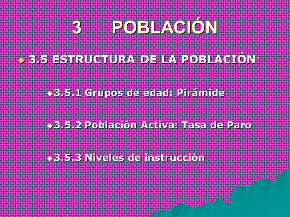 3 POBLACIÓN 3.5 ESTRUCTURA DE LA POBLACIÓN: 3.5 ESTRUCTURA DE LA POBLACIÓN: 3.5.1 Grupos de edad: Pirámide 3.5.1 Grupos de edad: Pirámide 3.5.2 Poblac