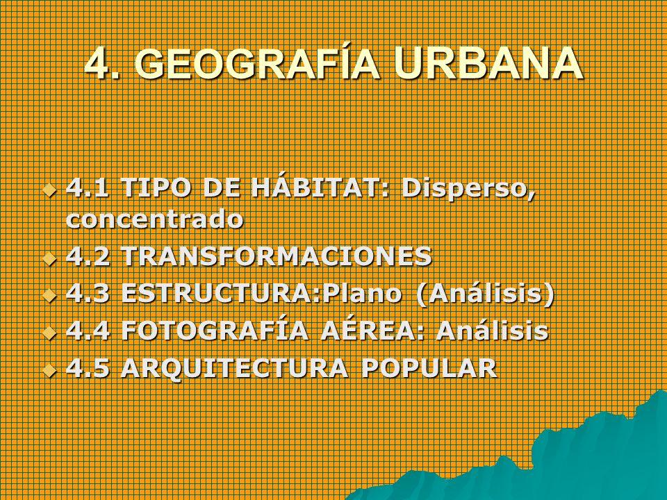 4. GEOGRAFÍA URBANA 4.1 TIPO DE HÁBITAT: Disperso, concentrado 4.1 TIPO DE HÁBITAT: Disperso, concentrado 4.2 TRANSFORMACIONES 4.2 TRANSFORMACIONES 4.