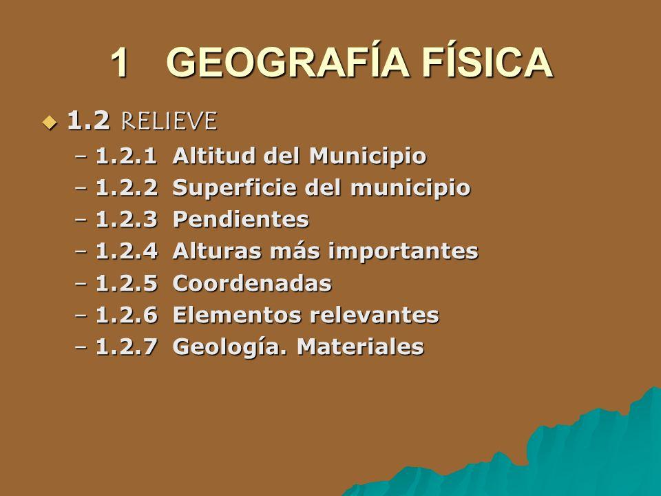 1 GEOGRAFÍA FÍSICA 1.2 RELIEVE 1.2 RELIEVE –1.2.1 Altitud del Municipio –1.2.2 Superficie del municipio –1.2.3 Pendientes –1.2.4 Alturas más important