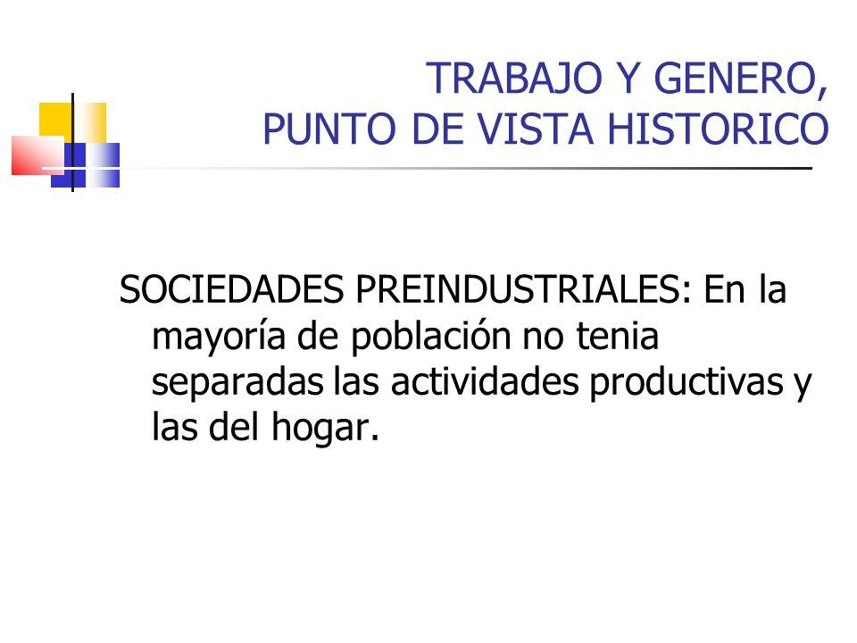 TRABAJO Y GENERO, PUNTO DE VISTA HISTORICO SOCIEDADES PREINDUSTRIALES: En la mayoría de población no tenia separadas las actividades productivas y las