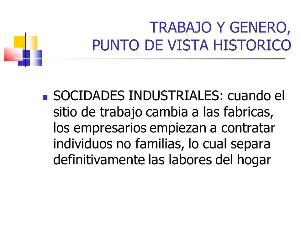 TRABAJO Y GENERO, PUNTO DE VISTA HISTORICO SOCIDADES INDUSTRIALES: cuando el sitio de trabajo cambia a las fabricas, los empresarios empiezan a contra