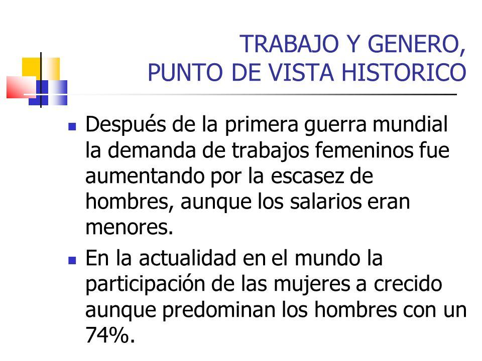 TRABAJO Y GENERO, PUNTO DE VISTA HISTORICO Después de la primera guerra mundial la demanda de trabajos femeninos fue aumentando por la escasez de homb