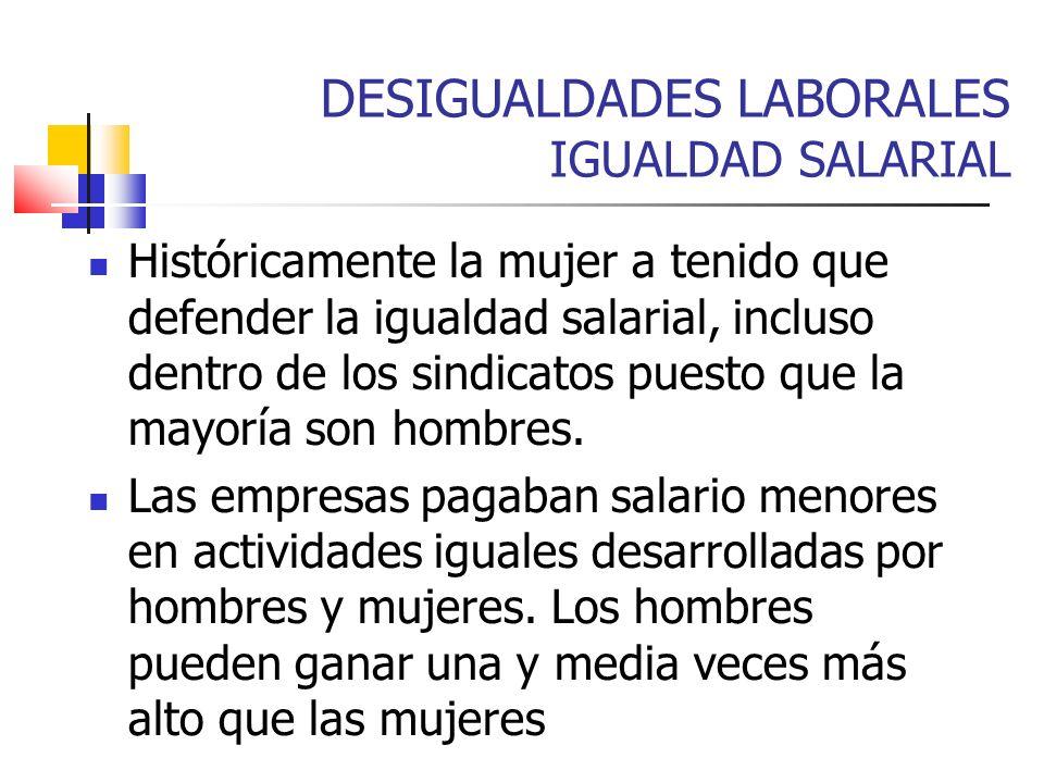 DESIGUALDADES LABORALES IGUALDAD SALARIAL Históricamente la mujer a tenido que defender la igualdad salarial, incluso dentro de los sindicatos puesto