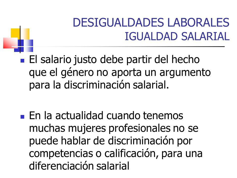 DESIGUALDADES LABORALES IGUALDAD SALARIAL El salario justo debe partir del hecho que el género no aporta un argumento para la discriminación salarial.