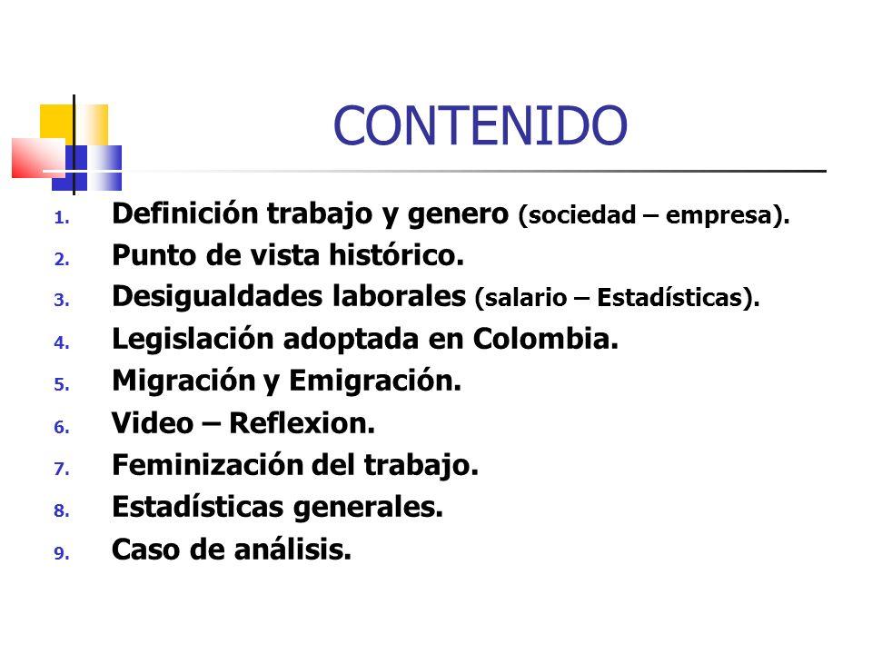 CONTENIDO 1. Definición trabajo y genero (sociedad – empresa). 2. Punto de vista histórico. 3. Desigualdades laborales (salario – Estadísticas). 4. Le