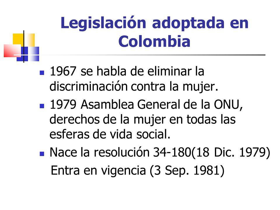 Legislación adoptada en Colombia 1967 se habla de eliminar la discriminación contra la mujer. 1979 Asamblea General de la ONU, derechos de la mujer en