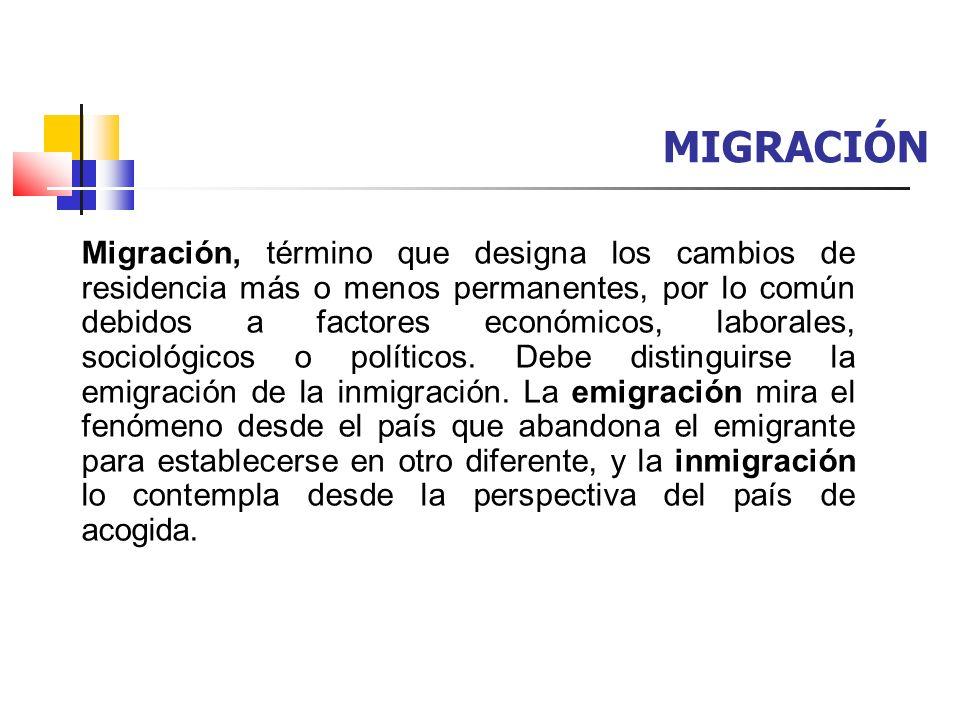 MIGRACIÓN Migración, término que designa los cambios de residencia más o menos permanentes, por lo común debidos a factores económicos, laborales, soc