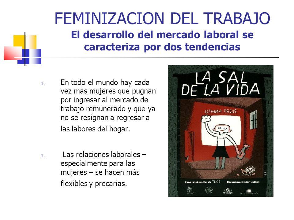 FEMINIZACION DEL TRABAJO El desarrollo del mercado laboral se caracteriza por dos tendencias 1. En todo el mundo hay cada vez más mujeres que pugnan p