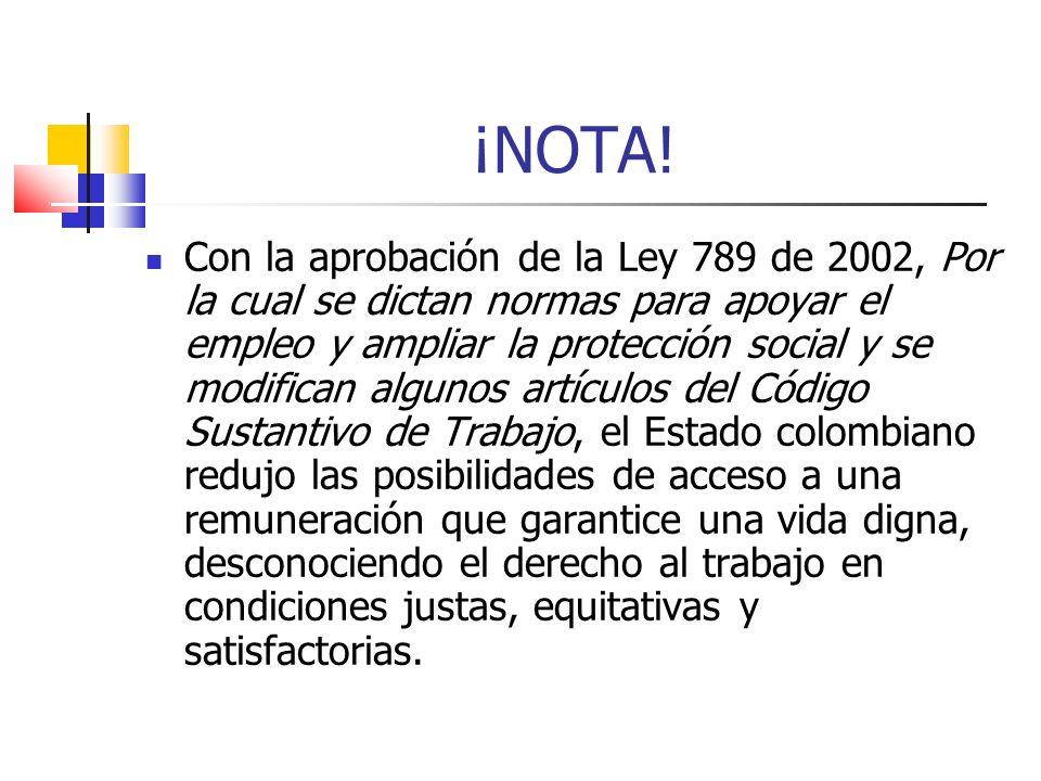 ¡NOTA! Con la aprobación de la Ley 789 de 2002, Por la cual se dictan normas para apoyar el empleo y ampliar la protección social y se modifican algun