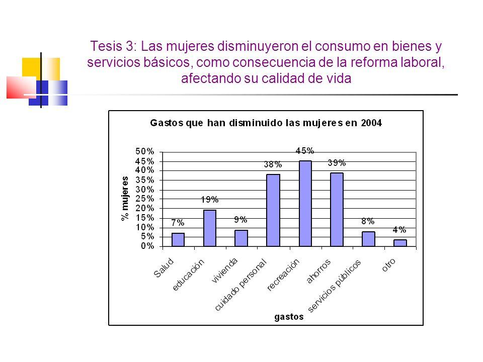 Tesis 3: Las mujeres disminuyeron el consumo en bienes y servicios básicos, como consecuencia de la reforma laboral, afectando su calidad de vida