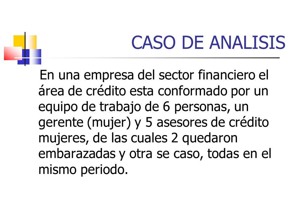 CASO DE ANALISIS En una empresa del sector financiero el área de crédito esta conformado por un equipo de trabajo de 6 personas, un gerente (mujer) y