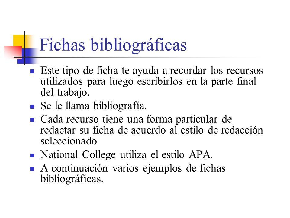 Fichas bibliográficas Este tipo de ficha te ayuda a recordar los recursos utilizados para luego escribirlos en la parte final del trabajo.