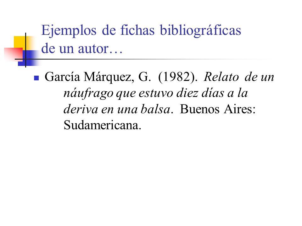 Ejemplos de fichas bibliográficas de un autor… García Márquez, G.