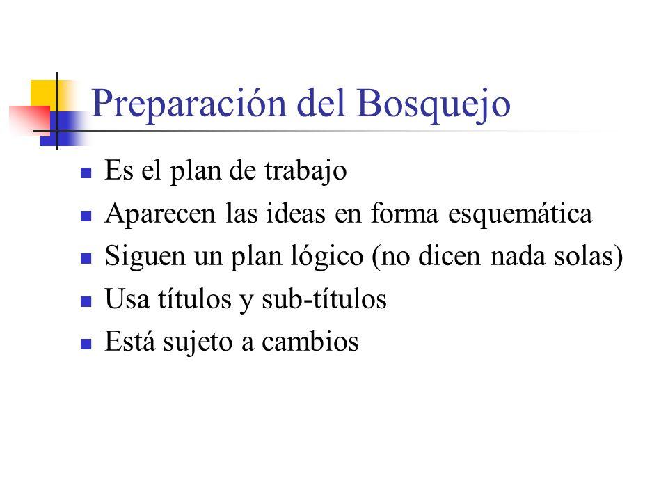 Preparación del Bosquejo Es el plan de trabajo Aparecen las ideas en forma esquemática Siguen un plan lógico (no dicen nada solas) Usa títulos y sub-títulos Está sujeto a cambios