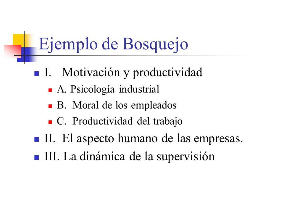 Ejemplo de Bosquejo I.Motivación y productividad A.