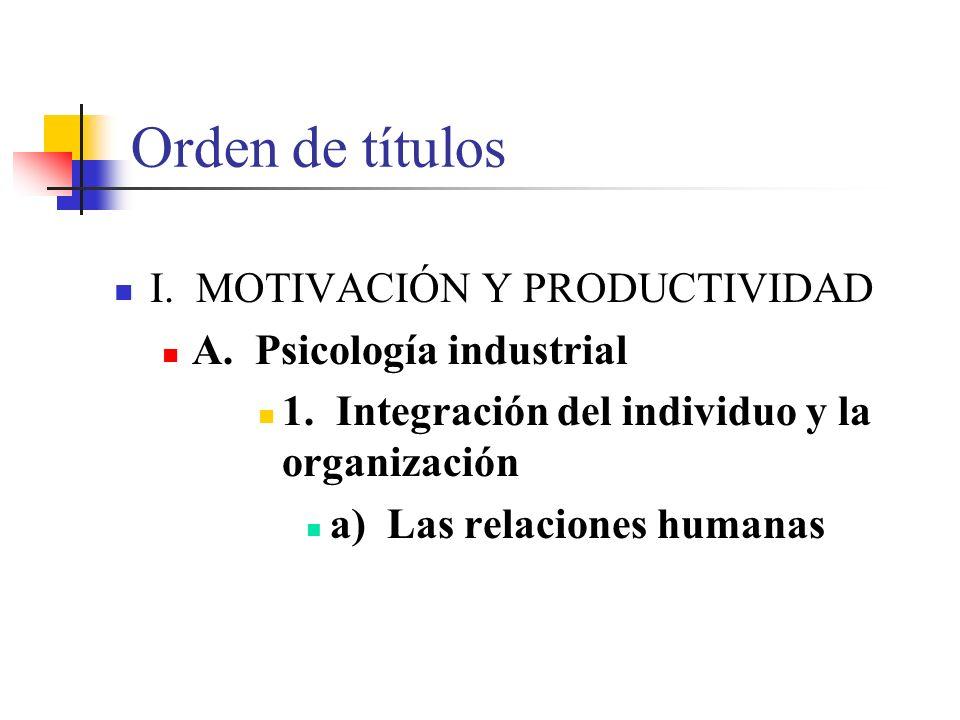 Orden de títulos I.MOTIVACIÓN Y PRODUCTIVIDAD A. Psicología industrial 1.