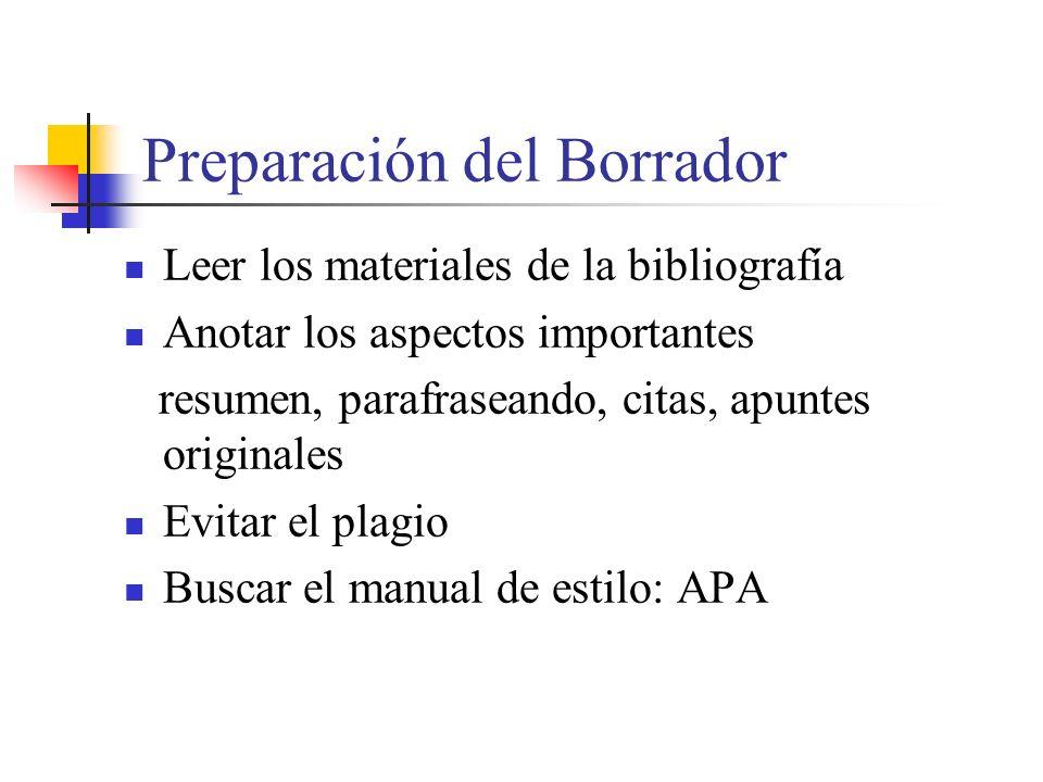 Preparación del Borrador Leer los materiales de la bibliografía Anotar los aspectos importantes resumen, parafraseando, citas, apuntes originales Evitar el plagio Buscar el manual de estilo: APA