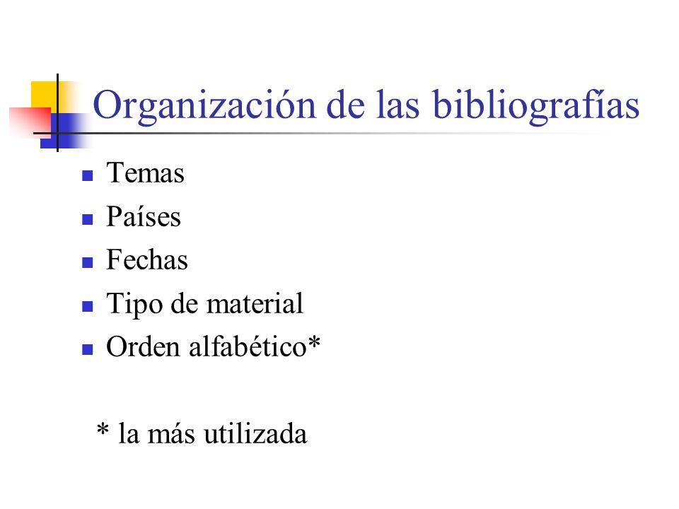 Organización de las bibliografías Temas Países Fechas Tipo de material Orden alfabético* * la más utilizada