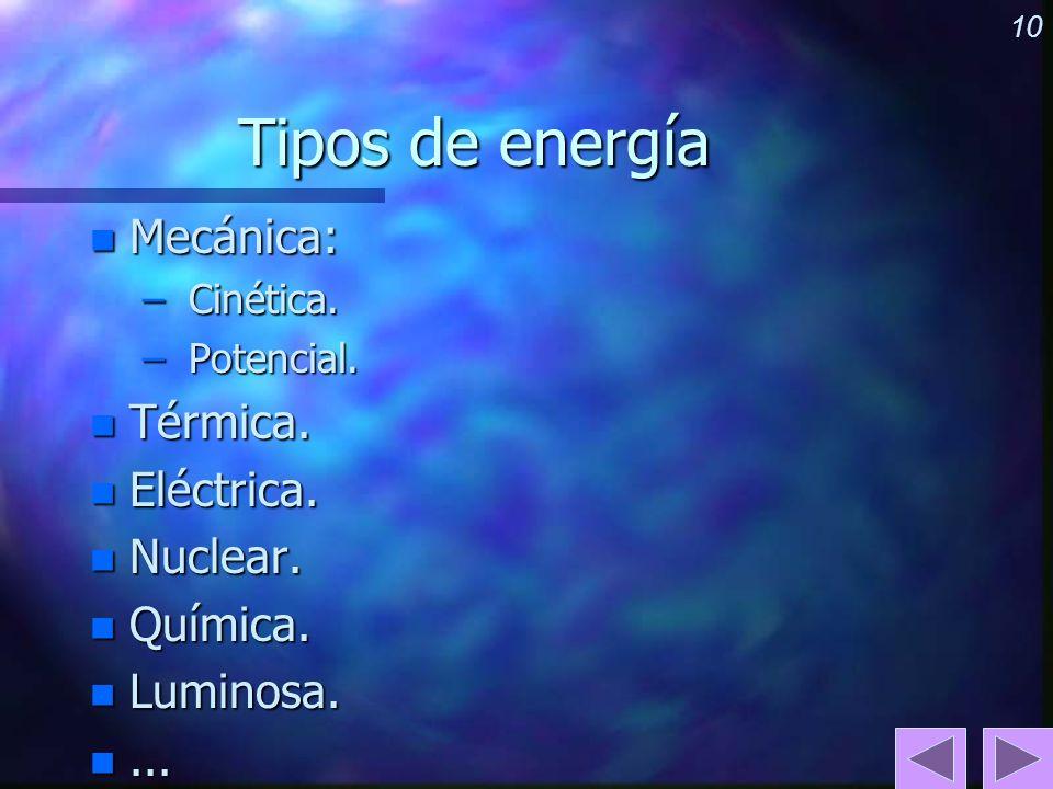 10 Tipos de energía n Mecánica: – Cinética. – Potencial. n Térmica. n Eléctrica. n Nuclear. n Química. n Luminosa. n...