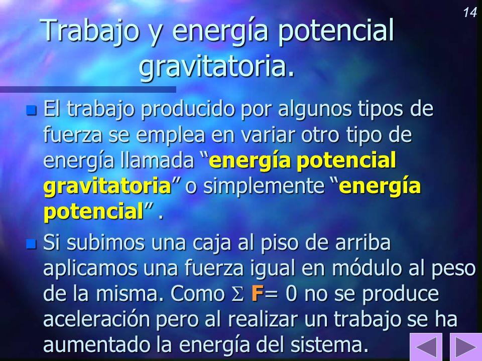 14 Trabajo y energía potencial gravitatoria. n El trabajo producido por algunos tipos de fuerza se emplea en variar otro tipo de energía llamada energ