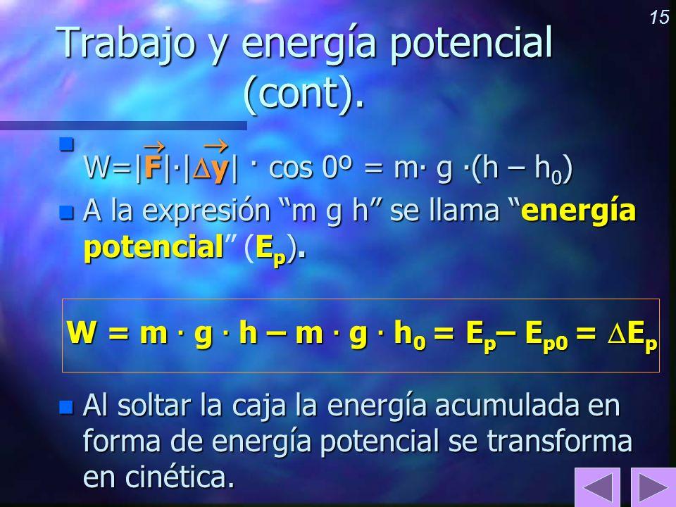 15 Trabajo y energía potencial (cont). n W=|F| · | y| · cos 0º = m · g · (h – h 0 ) n A la expresión m g h se llama energía potencialE p ). n A la exp