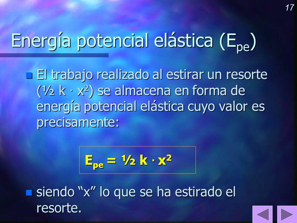 17 Energía potencial elástica (E pe ) n El trabajo realizado al estirar un resorte (½ k · x 2 ) se almacena en forma de energía potencial elástica cuy