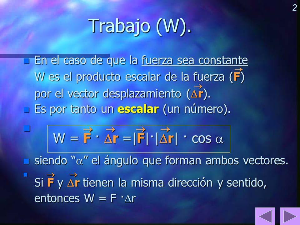 2 Trabajo (W). n En el caso de que la fuerza sea constante W es el producto escalar de la fuerza (F) por el vector desplazamiento ( r). n Es por tanto