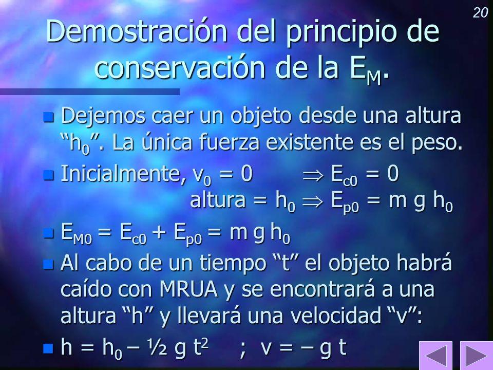 20 Demostración del principio de conservación de la E M. n Dejemos caer un objeto desde una altura h 0. La única fuerza existente es el peso. n Inicia