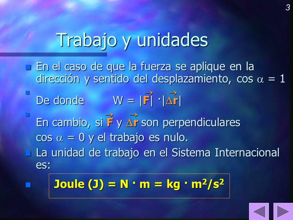 3 Trabajo y unidades n En el caso de que la fuerza se aplique en la dirección y sentido del desplazamiento, cos = 1 n De donde W = |F| ·| r| n En camb