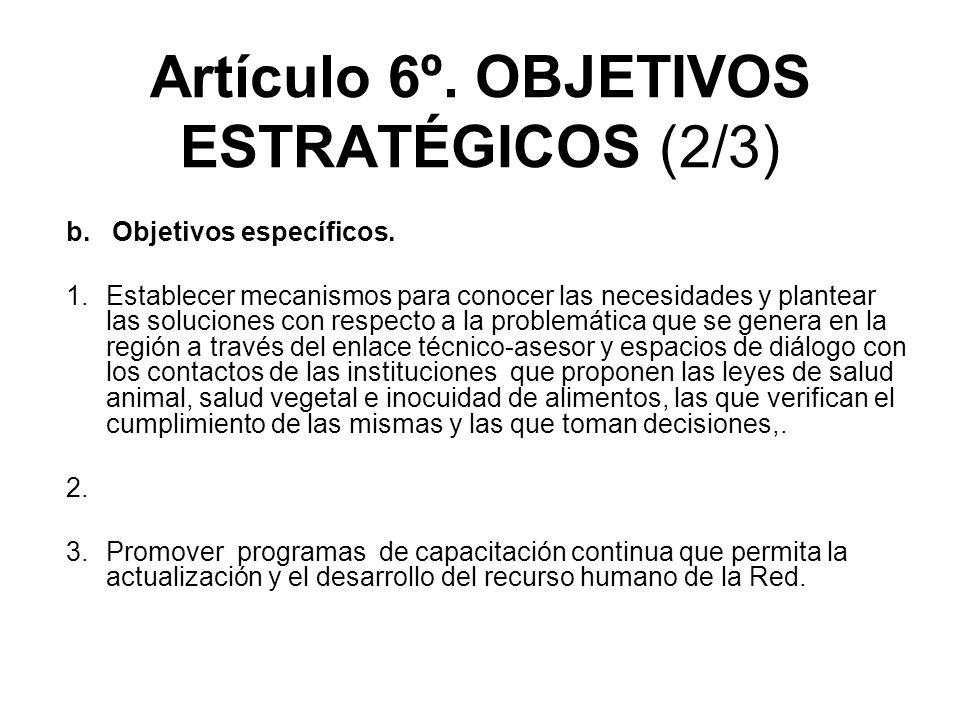Artículo 6º.OBJETIVOS ESTRATÉGICOS (2/3) b. Objetivos específicos.