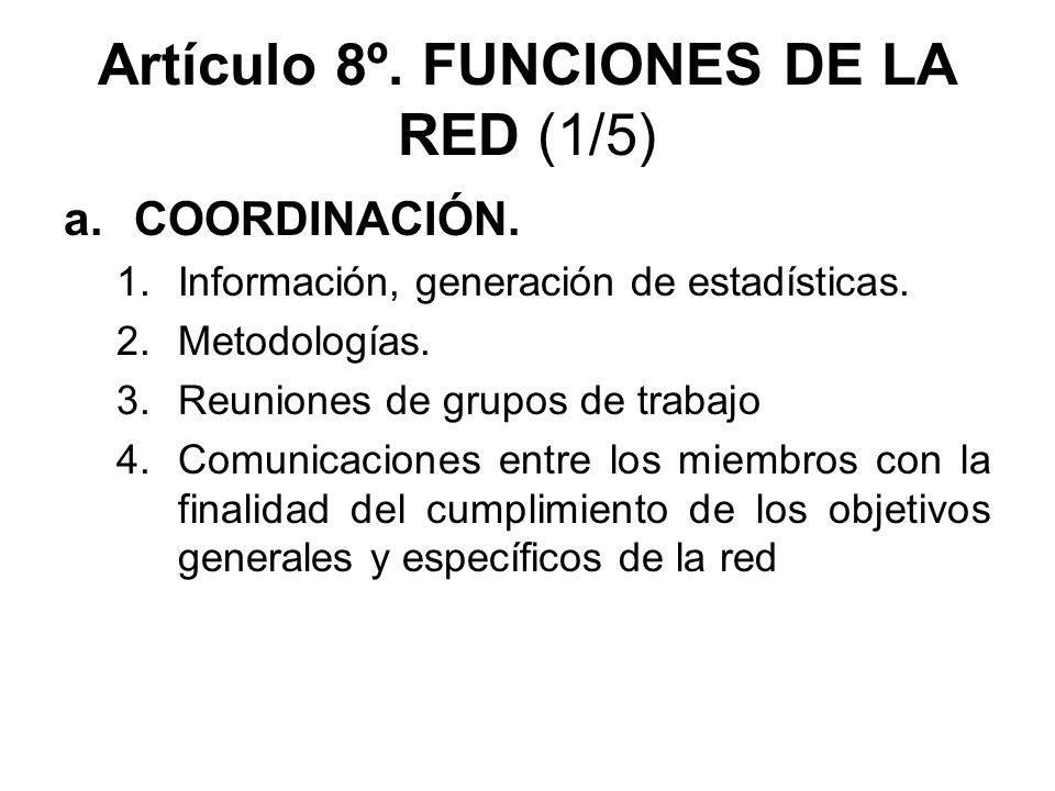 Artículo 8º. FUNCIONES DE LA RED (1/5) a.COORDINACIÓN. 1.Información, generación de estadísticas. 2.Metodologías. 3.Reuniones de grupos de trabajo 4.C