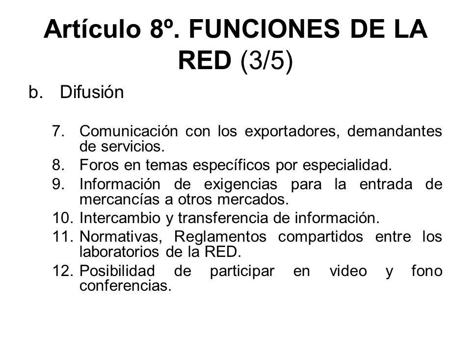 Artículo 8º. FUNCIONES DE LA RED (3/5) b.Difusión 7.Comunicación con los exportadores, demandantes de servicios. 8.Foros en temas específicos por espe