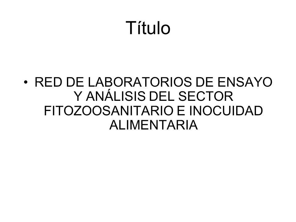 Título RED DE LABORATORIOS DE ENSAYO Y ANÁLISIS DEL SECTOR FITOZOOSANITARIO E INOCUIDAD ALIMENTARIA