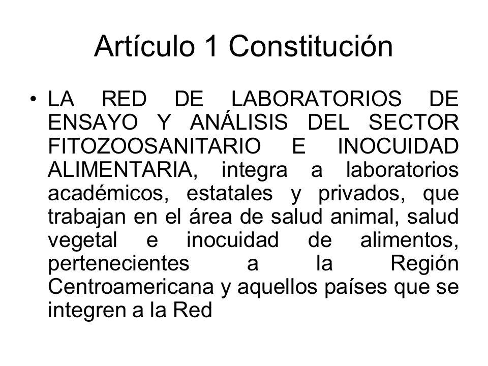 Artículo 1 Constitución LA RED DE LABORATORIOS DE ENSAYO Y ANÁLISIS DEL SECTOR FITOZOOSANITARIO E INOCUIDAD ALIMENTARIA, integra a laboratorios académicos, estatales y privados, que trabajan en el área de salud animal, salud vegetal e inocuidad de alimentos, pertenecientes a la Región Centroamericana y aquellos países que se integren a la Red