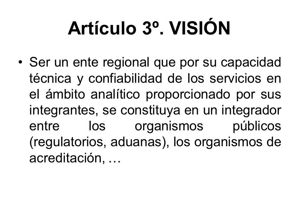 Artículo 3º. VISIÓN Ser un ente regional que por su capacidad técnica y confiabilidad de los servicios en el ámbito analítico proporcionado por sus in
