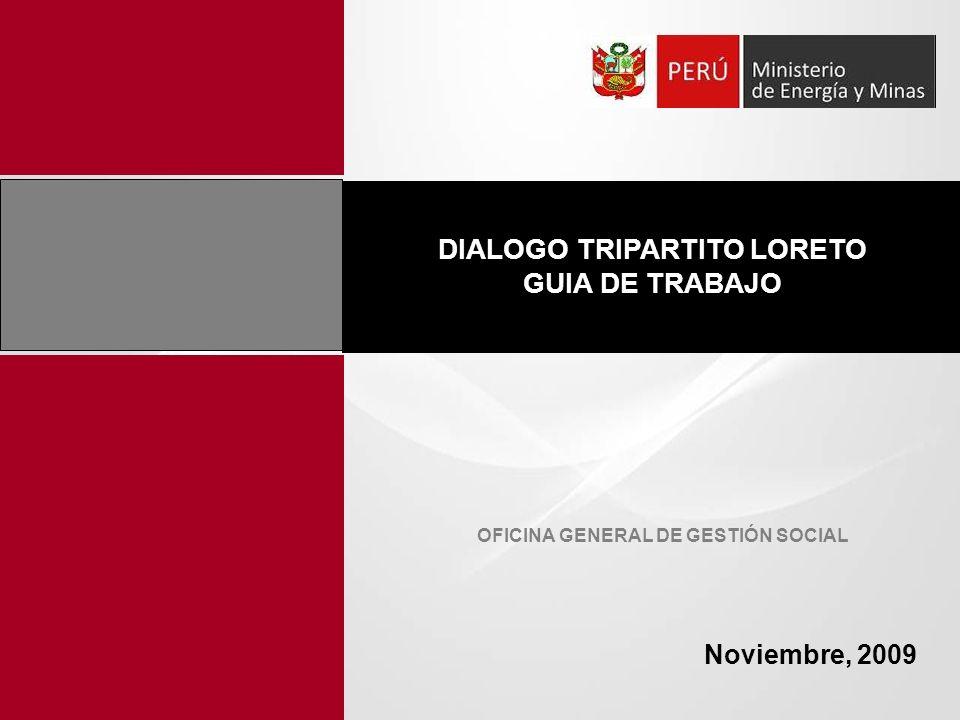 Dialogo tripartito Loreto – Antecedentes Implementación y desarrollo de los diálogos tripartitos durante el año 2008 y principios del 2009 (Taller Nacional de los Comités de Coordinación) Durante el 2008 se desarrollaron 4 reuniones plenarias en la Ciudad de Iquitos, en la que participaron las empresas operadoras en la región, instituciones públicas y organizaciones indígenas ubicadas dentro de las áreas de influencia de los proyectos de hidrocarburos.