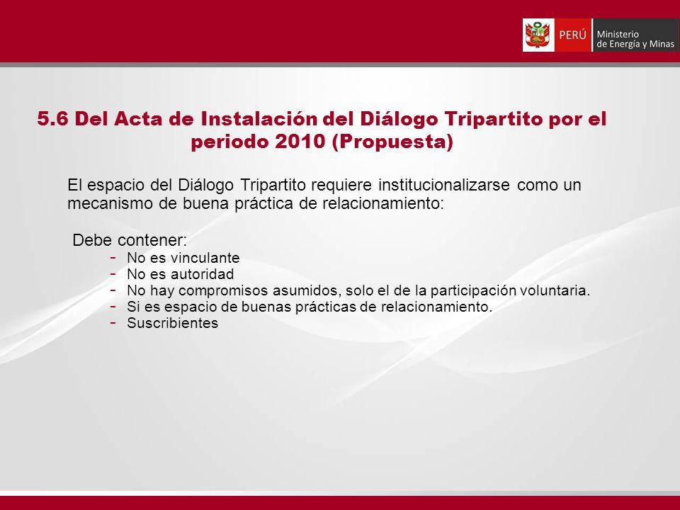 5.6 Del Acta de Instalación del Diálogo Tripartito por el periodo 2010 (Propuesta) El espacio del Diálogo Tripartito requiere institucionalizarse como un mecanismo de buena práctica de relacionamiento: Debe contener: - No es vinculante - No es autoridad - No hay compromisos asumidos, solo el de la participación voluntaria.