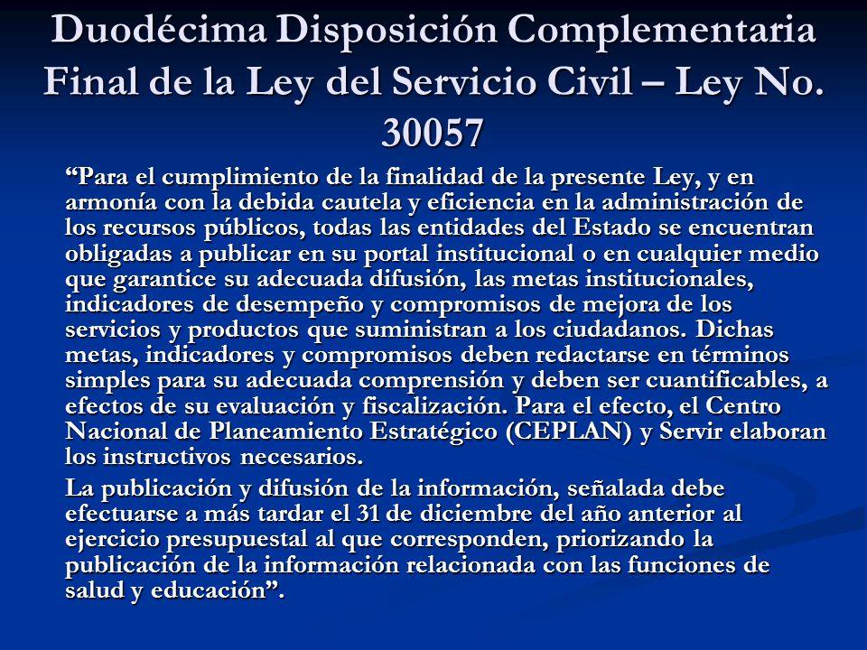 Duodécima Disposición Complementaria Final de la Ley del Servicio Civil – Ley No.