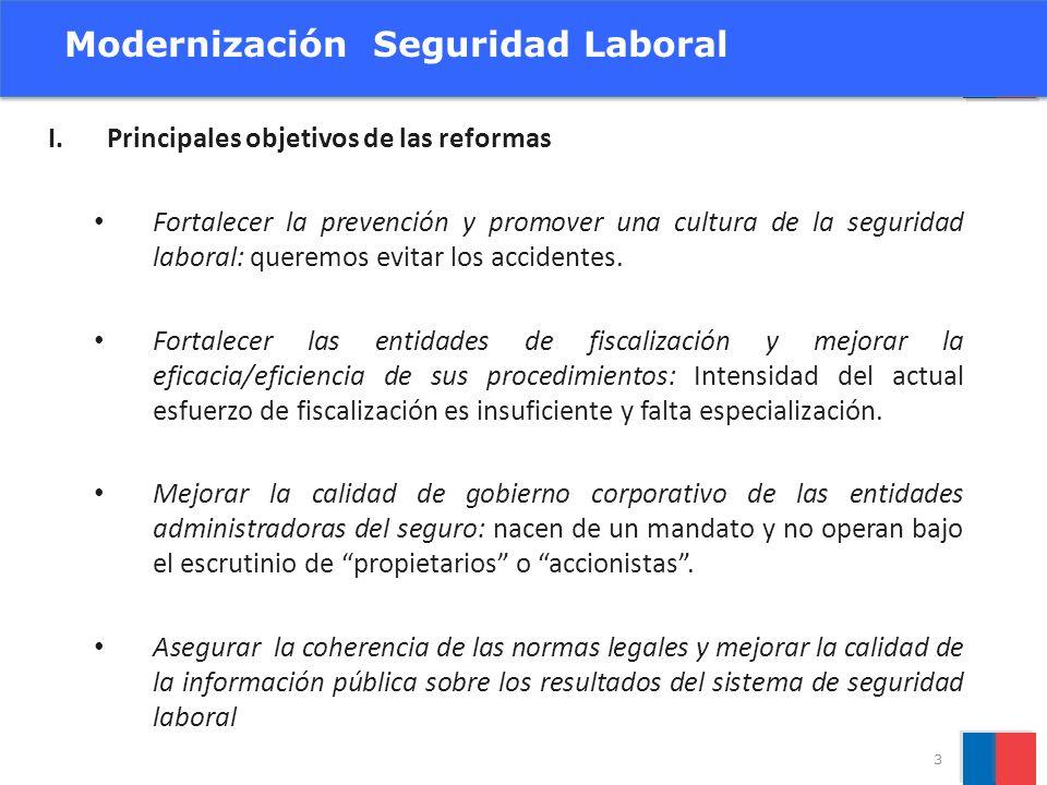 I.Principales objetivos de las reformas Fortalecer la prevención y promover una cultura de la seguridad laboral: queremos evitar los accidentes. Forta