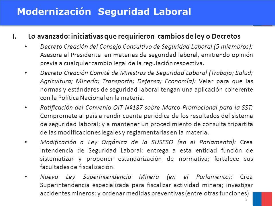 I.Lo avanzado: iniciativas que requirieron cambios de ley o Decretos Decreto Creación del Consejo Consultivo de Seguridad Laboral (5 miembros): Asesor