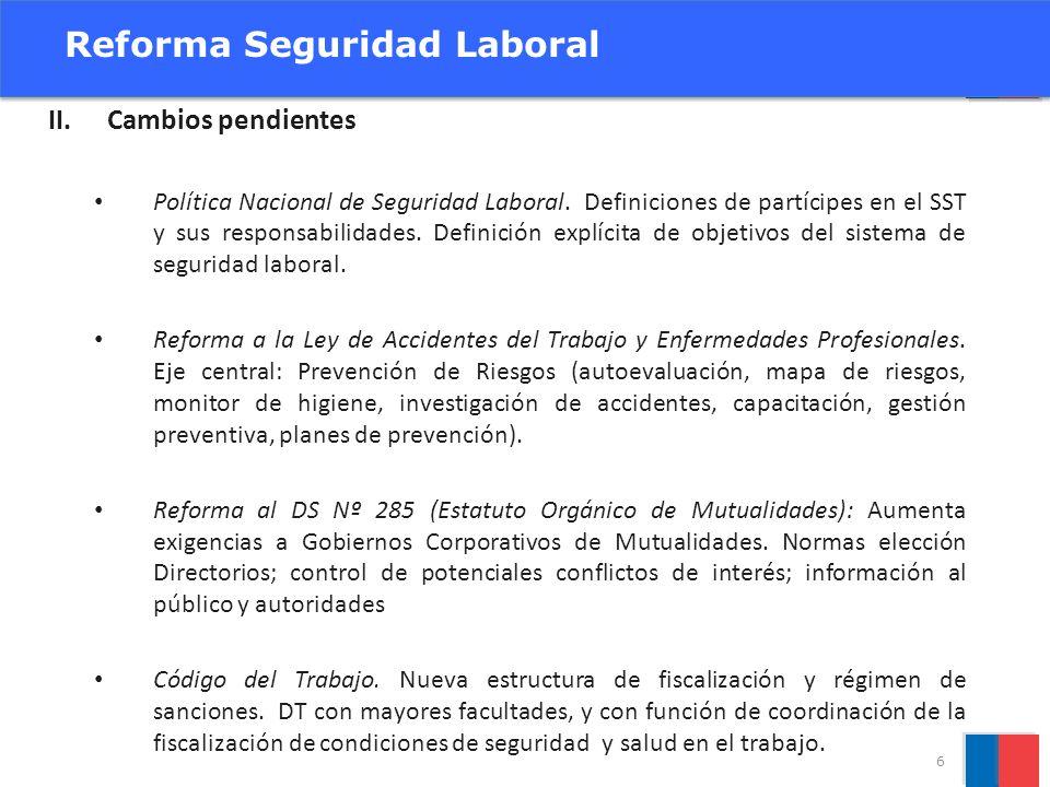 II.Cambios pendientes Política Nacional de Seguridad Laboral. Definiciones de partícipes en el SST y sus responsabilidades. Definición explícita de ob
