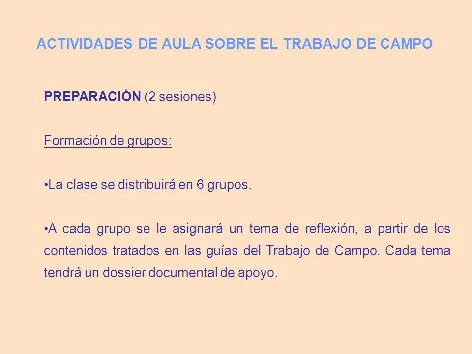 ACTIVIDADES DE AULA SOBRE EL TRABAJO DE CAMPO PREPARACIÓN (2 sesiones) Formación de grupos: La clase se distribuirá en 6 grupos. A cada grupo se le as