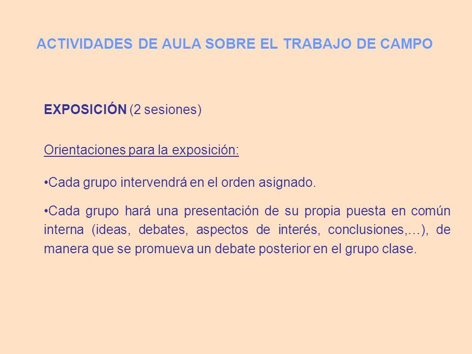 EXPOSICIÓN (2 sesiones) Orientaciones para la exposición: Cada grupo intervendrá en el orden asignado.