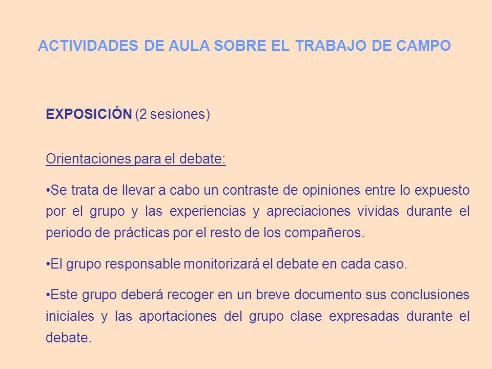 EXPOSICIÓN (2 sesiones) Orientaciones para el debate: Se trata de llevar a cabo un contraste de opiniones entre lo expuesto por el grupo y las experie