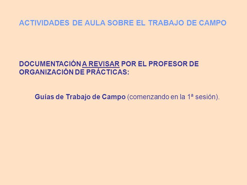 DOCUMENTACIÓN A REVISAR POR EL PROFESOR DE ORGANIZACIÓN DE PRÁCTICAS: Guías de Trabajo de Campo (comenzando en la 1ª sesión). ACTIVIDADES DE AULA SOBR