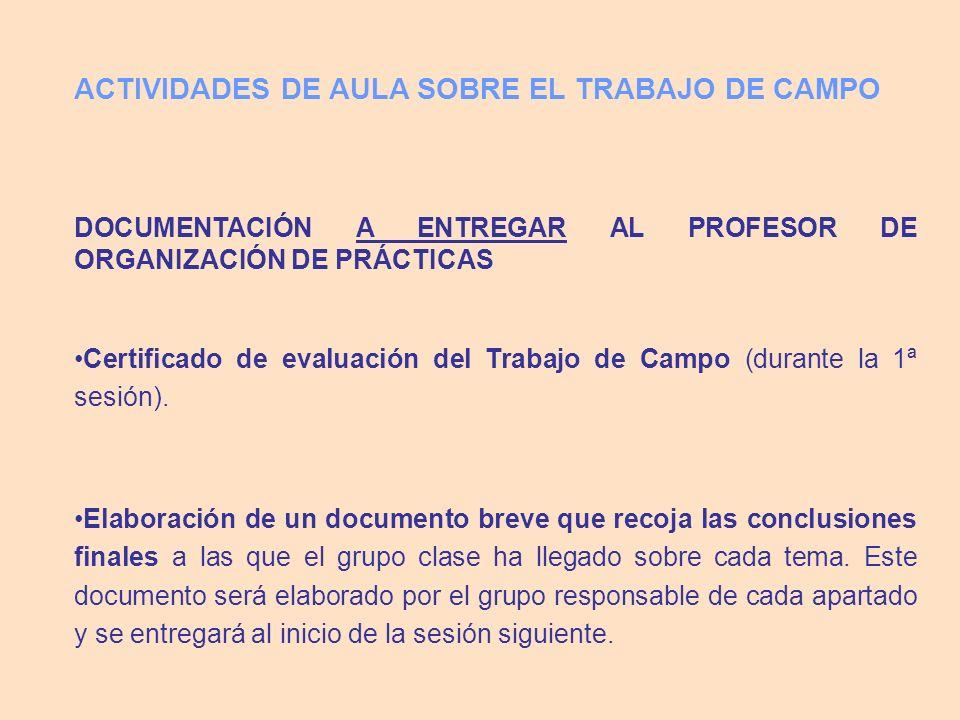 DOCUMENTACIÓN A ENTREGAR AL PROFESOR DE ORGANIZACIÓN DE PRÁCTICAS Certificado de evaluación del Trabajo de Campo (durante la 1ª sesión). Elaboración d